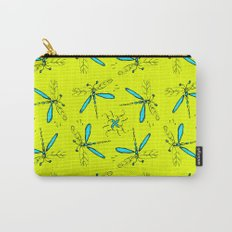 Turquoise Dragonflys On Yellow Back Carry-All Pouch
