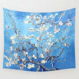 Vincent Van Gogh Almond Blossoms. Sky Blue Wall Tapestry