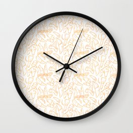 Traces - Teeth - Gold Line (White) Wall Clock