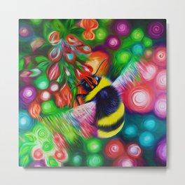 Bumblebee and Summer Flowers Metal Print