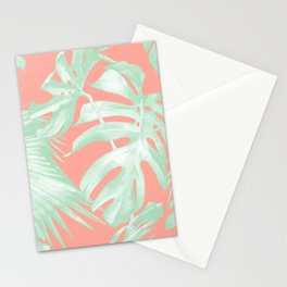 Island Love Coral Pink + Light Green Stationery Cards