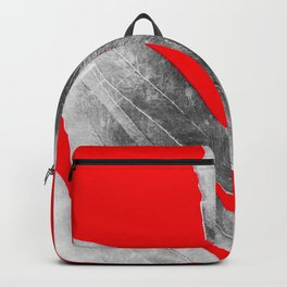 Green Fern on Red Inverted Backpack