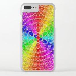 Colorful Mandala Flower Clear iPhone Case