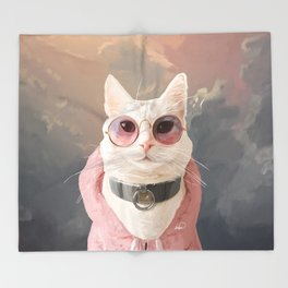 Fashion Portrait Cat Throw Blanket
