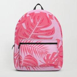 Tropical flamingo pink leaves Backpack