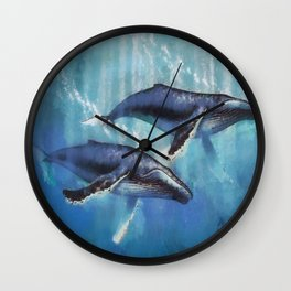 Abstract Colorful Whales  painting  Wall Clock