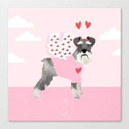 Schnauzer dog breed pet valentines day love bug cute dogs schnauzers pure breed Canvas Print