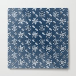 Hand Drawn Snowflakes on Blue Metal Print