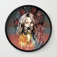 kill bill Wall Clocks featuring Kill Bill by RJ Artworks