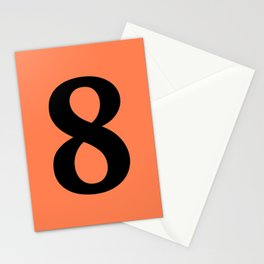 8 (BLACK & CORAL NUMBERS) Stationery Cards