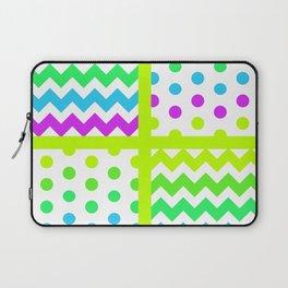 White/Multicolor Cheveron/Polkdot 1 Pattern Lime Green Cyan Magenta Vibrant Zigzag Laptop Sleeve