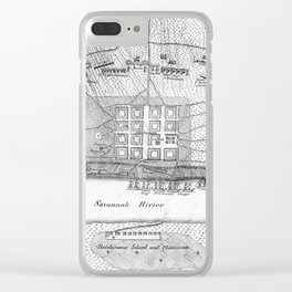 Vintage Map of The Siege of Savannah GA (1779) Clear iPhone Case