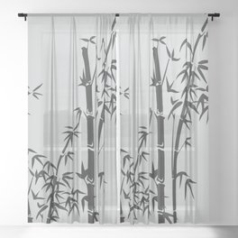 Bamboo black - grey Sheer Curtain