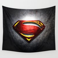 man of steel Wall Tapestries featuring Man of Steel by bimorecreative