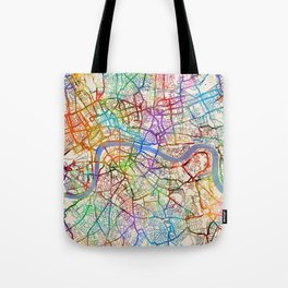 London England City Street Map Tote Bag