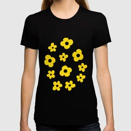 White Yellow Spring Flower Pattern T-shirt