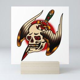 American Traditional Pierced Winged Skull Mini Art Print