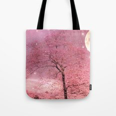 Surreal Fantasy Fairy Tale Pink Nature Trees Stars Full Moon Tote Bag