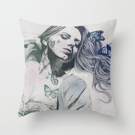 Beautiful Ruin: Jade   sexy girl in lingerie with butterflies Throw Pillow