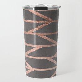 Rose gold chevron stripes geometric pattern on grey cement concrete Travel Mug