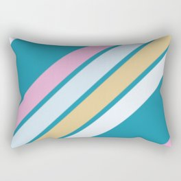 Pink White and Blue Stripes Rectangular Pillow