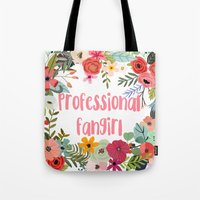 fangirl Tote Bags featuring Professional Fangirl by Meleika