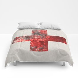 Medic - Abstract Medical Cross In Red And Black Comforters