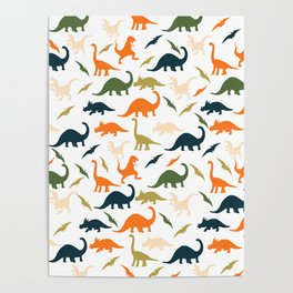 Dinos in Pastel Green and Orange Poster