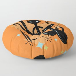 Effervescent Orange Atomic Age Black Kitschy Cat Trio Floor Pillow