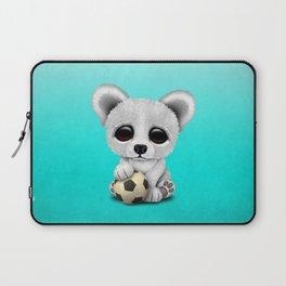 Cute Baby Polar Bear With Football Soccer Ball Laptop Sleeve