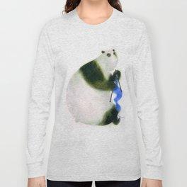 """Un panda tricote..."" Book cover Long Sleeve T-shirt"
