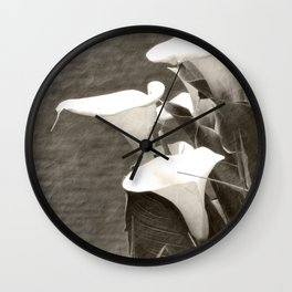 Calla Lily Flower Sepia Photo Wall Clock