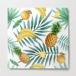 Tropical fruits. Banana, pineapple, palm leaves, coconut. Vintage watercolor hand painted illustration pattern. Metal Print