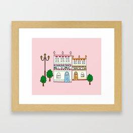 CharmVille Houses, pink Framed Art Print