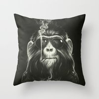 black cat Throw Pillows featuring Smoke 'Em If You Got 'Em by Dr. Lukas Brezak
