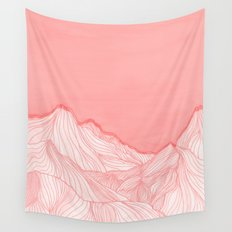 Lines in the mountains - pink Wall Tapestry