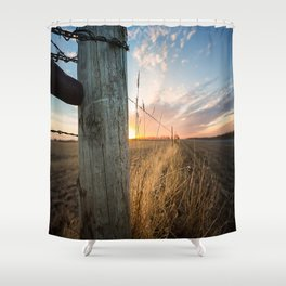 Late December - Western Scene of Fence Post and Sunset Shower Curtain