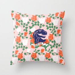 Dinosaur with Roses, Clever Girl Throw Pillow