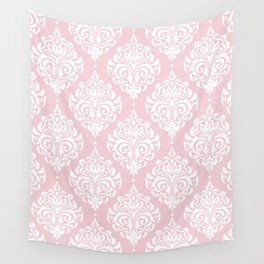 Pink Damask Wall Tapestry