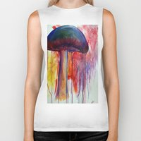 mushrooms Biker Tanks featuring Mushrooms by Lynnea Pennington