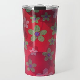 abstract pattern in red, rose, flower,blossom metal Travel Mug