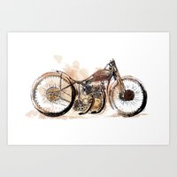Harley Boardtracker Art Print