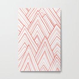 Stripe Mountains - Living Coral Metal Print