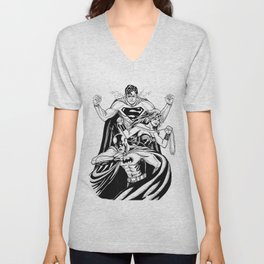 Justice League Trinity: The Caped Crusader, Diana Prince, Superman Unisex V-Neck