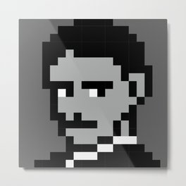 Nikola Tesla 8bit portrait Metal Print