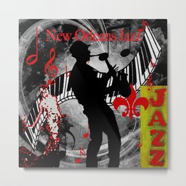 New Orleans Jazz Saxophone And Piano Music Metal Print
