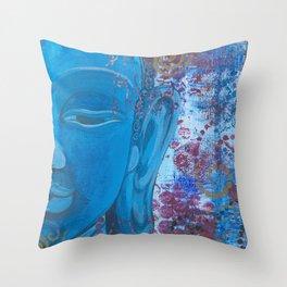 Buddha in Blue Throw Pillow