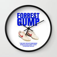 forrest gump Wall Clocks featuring Forrest Gump Movie Poster by FunnyFaceArt