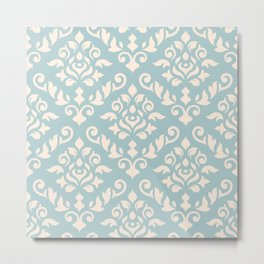 Damask Baroque Pattern Cream on Blue Metal Print
