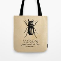 kafka Tote Bags featuring The Metamorphosis - Franz Kafka by pennyprintables